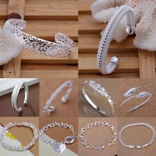 Wedding Elegant Solid Silver Sapphire Crystal Women Bracelet/Bangle Chain