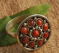 Ring Indian round Silver 925 with coral Handmade Size 54,56