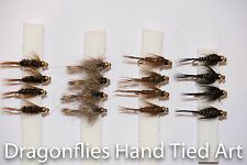 16 Gold Heads GRHE, PTN, Diawl Bach Black Nymph Trout Fly fishing by Dragonflies