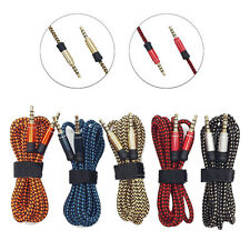 1.5M/5FT Braided 3.5mm Male To Male Stereo Audio AUX Cable Cord PC iPod CAR Lot