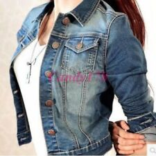 New Womens Long Sleeve Coat Slim Denim Short Frayed Casual Jean Jacket Outerwear