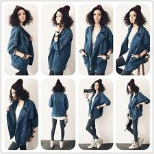 New Womens Punk Denim Jean Jacket Street Casual Long Sleeve Loose Casual Coats