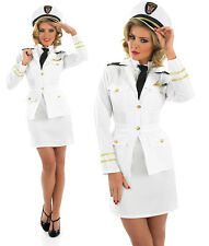 Ladies Sexy White Naval Officer Fancy Dress Costume 40S Navy Outfit UK 8-30