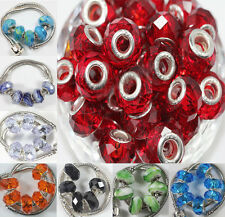 Hot 5Pcs Lampwork Glass Charm Murano Big Hole Bead Fit European Bracelet 14x10mm
