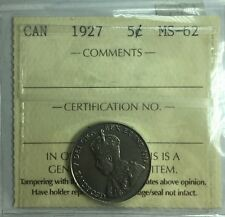 1927 Canadian Five Cent Coin ICCS Graded MS-62