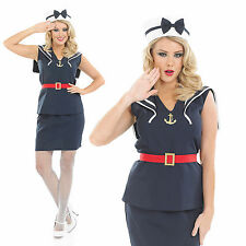 Ladies Sexy Pin Up Sailor Girl Fancy Dress Costume 40S Navy Naval Outfit UK 8-30