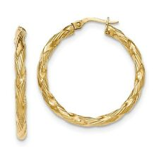 14K Yellow Gold Twisted Rope 3mm Round Hoop Earrings - 4 Sizes