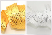 Wired Edge Gold Sequinned Satin Ribbon - per 10 metre roll (RBXLG166-38-M)
