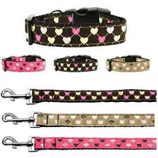 Argyle Hearts Nylon Dog or Cat Safety Collar Pet Adjustable D-Ring ADD Leash