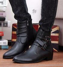 Men's Ankle Boot Punk Motorcycle Military Pointed Toe High Top Casual Shoes Size