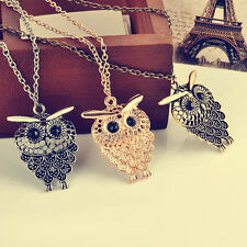 Cute Bronze Vintage Women Owl Pendant Long Sweater Chain Necklace Jewelry Gift