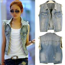 Hot Women Vintage Frayed Cardigan Denim Jean Vest Waistcoat Jacket Coat Outwears