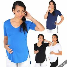 Maternity Womens Short Sleeve Loose T Shirt Tee Dip Hem Top Long Summer Blouse