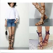 2016 New Women's Strappy Flip-Flops Roman Gladiator Punk Lace Up Sandals Shoes
