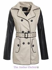 Brave Soul Ladies Womens Pu Sleeves Double Breasted Trench Mac Coat Jacket