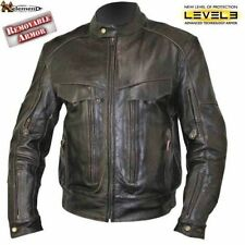 Xelement Mens Brown Buffalo Real Leather Cruiser Motorcycle Jacket (S-3XL)