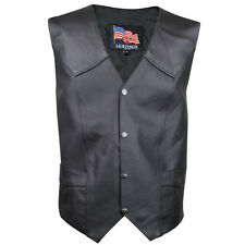 USA Leather Mens 4 Button Lace Black Leather Motorcycle Vest