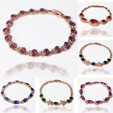 Fashion 18K Gold Plated Crystal Women Lady Bangle Chain Bracelet Jewelry