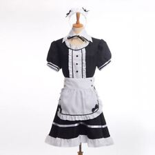 Japanese Maid Skirt Outfit Waitress Fancy Dress Ruffle Lolita Apron Black/red
