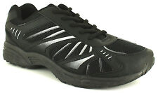 New Mens/Gents Black Lace Up Fastening Running Trainers UK SIZES