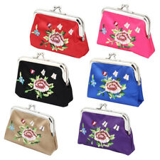 Lady Floral Embroidery Kiss Lock Closure Bag Coin Purse Money Keys Holder Wallet