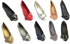 Womens Faux Leather Ballerina Ballet Flats W/Buckle 5 Colors
