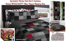 Geo Blocks COMFORTER+SHEETS+CURTAINS SET Bed in a Bag +Mini-Figure MINECRAFT TOY