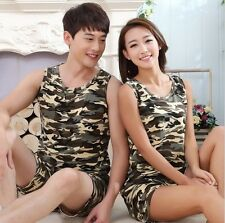 Couple Army Camo Cool Vest +Shorts Set Unisex Pajamas Outfit Summer Sleeveless