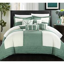 Chic Home Luciano 11-Piece Green Microsuede Patchwork Comforter Bed in a Bag