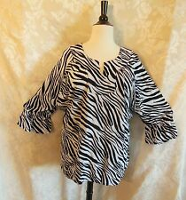 Plus Size We Be Bop EVE Blouse New ZEBRA Black-White Crinkle Rayon WeBeBop Top