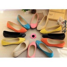 Women Patent Leather Sexy Pointed Toe Casual Cozy Flat Shoes Candy Color Sandals