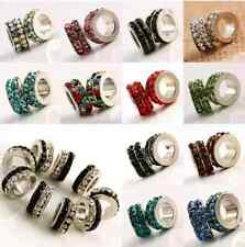 50x Crystal Rhinestone Mini Wheel Rondelle Spacer Charm Beads Fit EU Bracelet