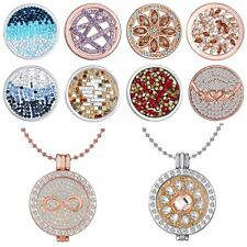 33MM DIY Coins Round Crystal Floating Charms Pendant For Locket Necklace Chain