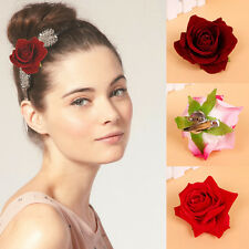 1Pc Women Large Fake Rose Flower Duckbill Hair Clip Hairpin Brooch Accessories