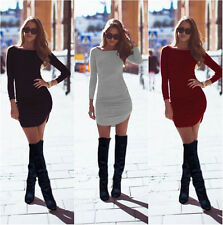 Sexy Womens Crew Neck Bodycon Casual Long Sleeve Slim Evening Party Wrap Dress A