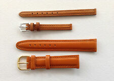 TAN PADDED LEATHER WATCH STRAP - 8MM, 18MM & 20MM - GP OR SS BUCKLE UK SELLER