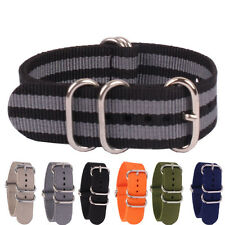 Ring Buckle Cambo Solid Color Black Grey 20mm Nylon Watch Strap Wristwatch Band
