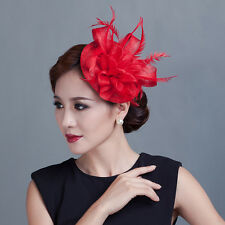 Church Derby Cocktail Sinamay Fascinator Hat headband Wedding Bridal Hairclip HQ