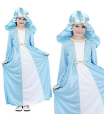 Childrens Kids Mary Fancy Dress Costume Christmas Nativity Girls Outfit 3-10 Yrs