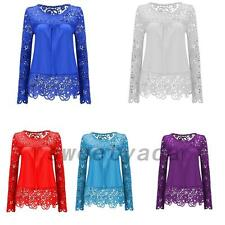 Crochet Lace Chiffon Shirt Embroidery Top Women's Loose Fit Blouse Sheer Sleeve
