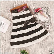 Hot Sale Kids Baby Girls Sleeveless Striped bowknot Dress Fashion Party Clothes