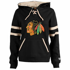 Chicago Blackhawks Old Time Hockey Women's Grant Lace-Up Slim Fit Hoodie - Black