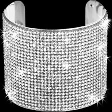 24-Line GOLD OR SILVER Pave Set Crystal Cz Bangle Cuff Statement Bracelet BLING