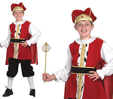 Childrens Kids Medieval King Fancy Dress Costume Henry Viii Tudor Boys 3-13 Yrs