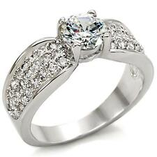Silver Rhodium Plated Solitaire Engagement Ring Pave Cubic Zirconia Size 9 10