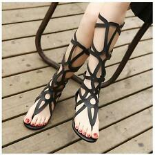 Sexy Womens Strappy Open Toe Hollow knee high gladiator Sandals Boots Flat Shoes