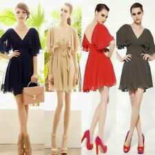Double V Neck Backless Flouncing Sleeve Chiffon Pleated Womens Mini Dress Casual
