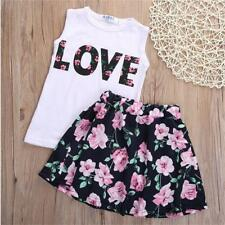 Girls Kids Summer Sleeveless Vest Tops + Floral Skirt Clothes Set Outfits 2-7Y