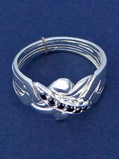 Silver & Sapphire Turkish Puzzle Ring - 5 Bands & 6 Accent Gems Lab Created