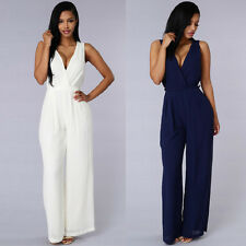OL Fashion Summer Women Sexy V-neck Long Jumpsuit Casual Work Sleeveless Rompers
